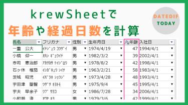 kintoneで年齢や経過日数が計算できるkrewSheetの数式フィールド